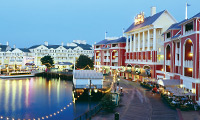 The lights of the entry way to Disney's BoardWalk Villas, a Disney Vacation Club Resort