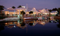 Night time at Disney's Old Key West Resort with mirror image in the water